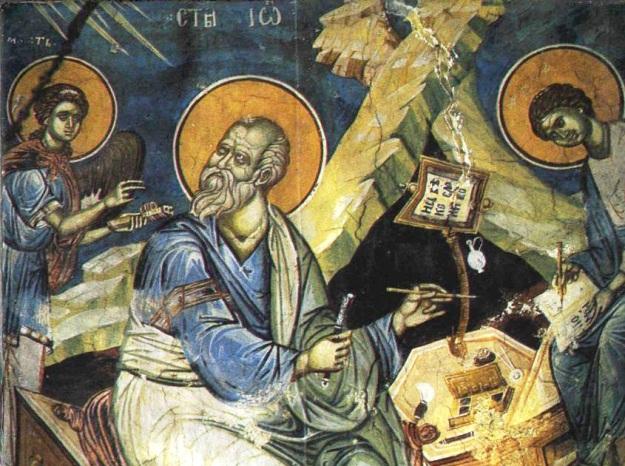 Свети Јован Богослов (фреска из Пећке патријаршије, око 1355)