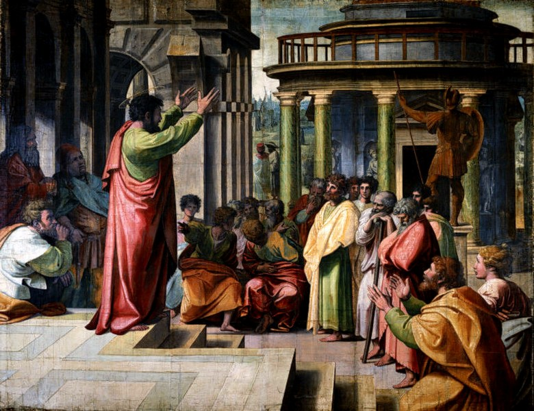 Рафаел Санти: Апостол Павле проповѣда у Атини - слика за таписерију, 1515.