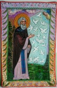 Јављање птица прѣподобному Сергију. Икона на стаклу. Стакло, акрилик, 320х480 мм, 2014.