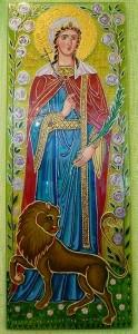 """Икона на стаклу """"Света мученица Татијана са лавом"""". Стакло, акрилик, 150х400 мм, 2013."""