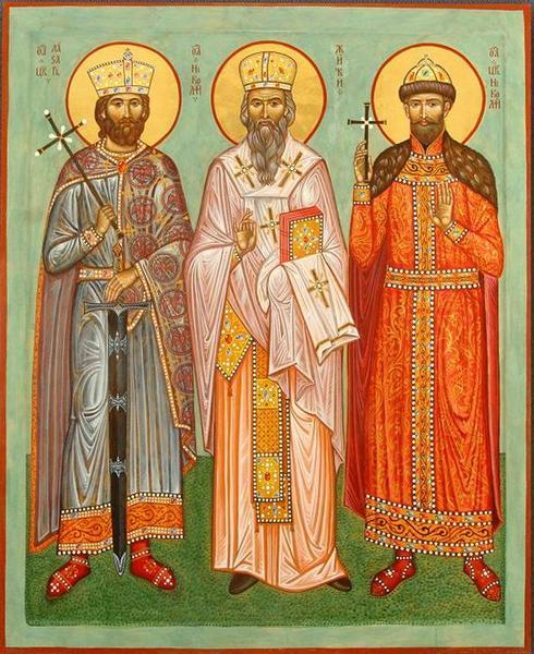 Свети Цар Лазар, Цар Николај и Владика Николај Српски. Дрво, левкас, јајчана темпера, злато у листићима, 90х110 мм